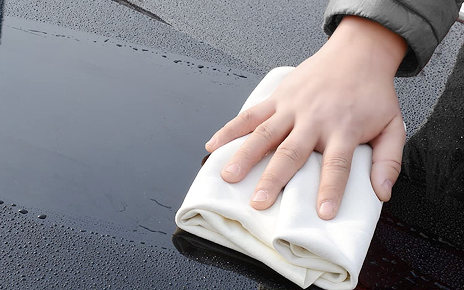 KinHwa Car Chamois Drying Towel Natural Chamois Cloth for Car Leather Super Absorbent Leather Cleaning Cloth 4.5 sq ft 4336323340