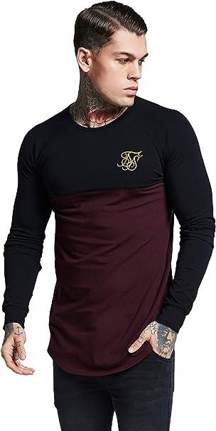 Sik Silk Hombre Camiseta de Gimnasio Raglan Longsleeved, Negro, X-Large: Amazon.es: Ropa y accesorios