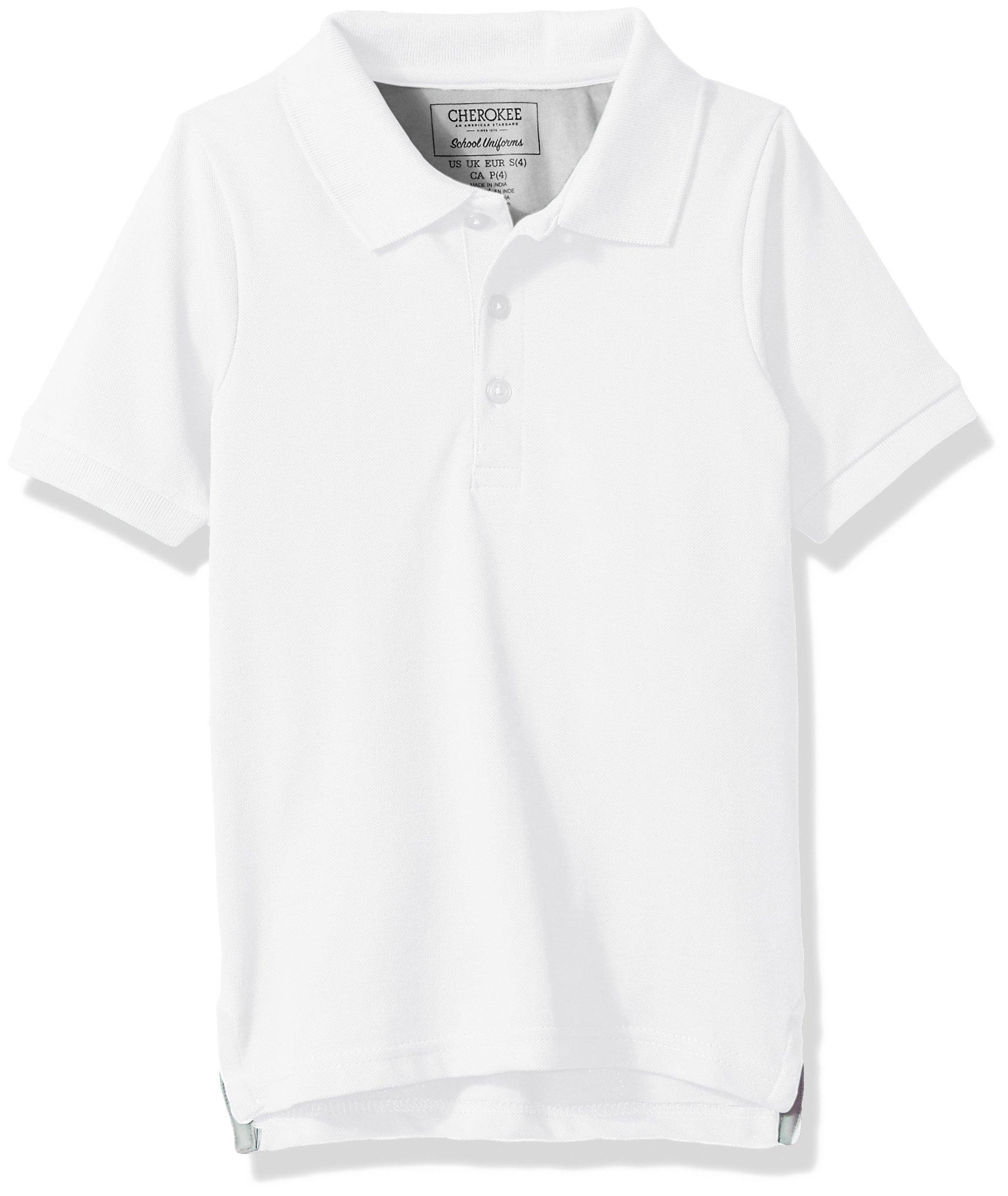 Cherokee Big Boys' Uniform Short Sleeve Pique Polos, White, S(8)