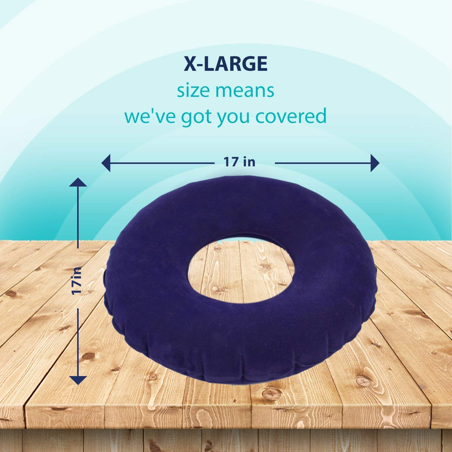 MedAttic 2-Pieces Superior Comfort Donut Cushion Seat, 15'' Orthopedic Medical Inflatable Ring Pillow for Bed Pressure Sores, Tailbone Pain, Hemorrhoids, Coccyx, Child Birth, Prostatitis
