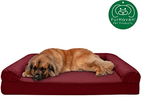 Furhaven Pet Dog Bed Orthopedic Sofa-Style Traditional Living Room Couch Pet Bed w// Removable Cover for Dogs /& Cats Available in Multiple Colors /& Styles
