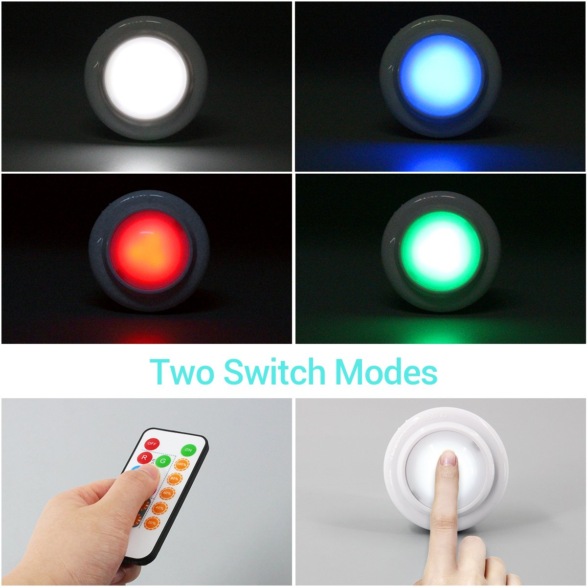 Wireless LED Closet Lights, RGB Color Changing Puck Light with Remote Control, Touch Sensor LED Night Light, Battery Operated Under Cabinet Light - 6 Pack (18 PCS Battery Included) by Best World LED (Image #2)