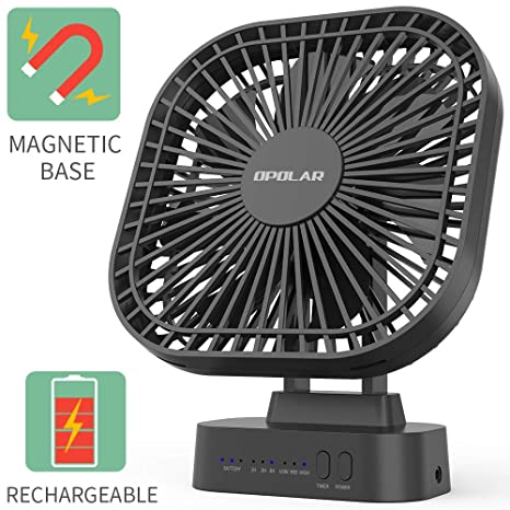 OPOLAR Battery Operated Fan, 5200Ma Rechargeable Battery Powered Fan,  Strong Wind But Quiet, Timer Setting, USB or Battery Powered for Office or