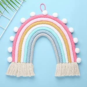 Tocawe New Rainbow Wall Decor Macrame Wall Hanging, Macrame Woven Decorative for Kids Room,Cute Wall Decor Nursery Decoration,Suitable for Festival Ornaments Toddler Gifts,Wedding (Blue)