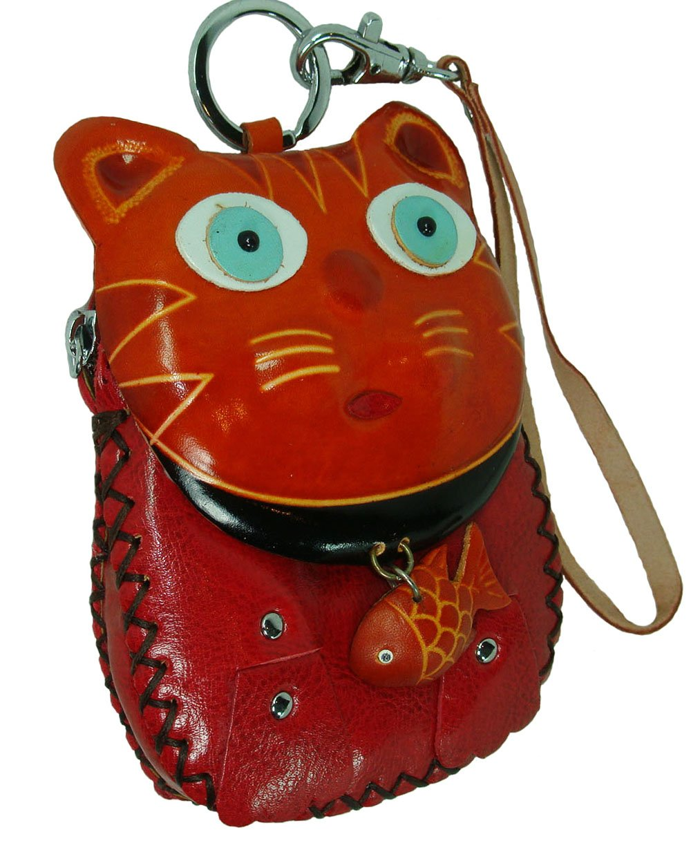 A Cat Holding a Fish Genuine Leather Wristlet Bag,change//coin Purse,wallet BP Leather D007