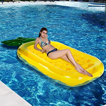 [NEWEST GENERATION]Pineapple Inflatable Pool Float, Outdoor Swimming Pool  Float Raft Inflated Floating
