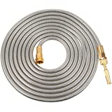 VERAGREEN Stainless Steel Metal Garden Hose 304 Stainless Steel Water Hose with Solid Metal Fittings and Newest Spray Nozzle,