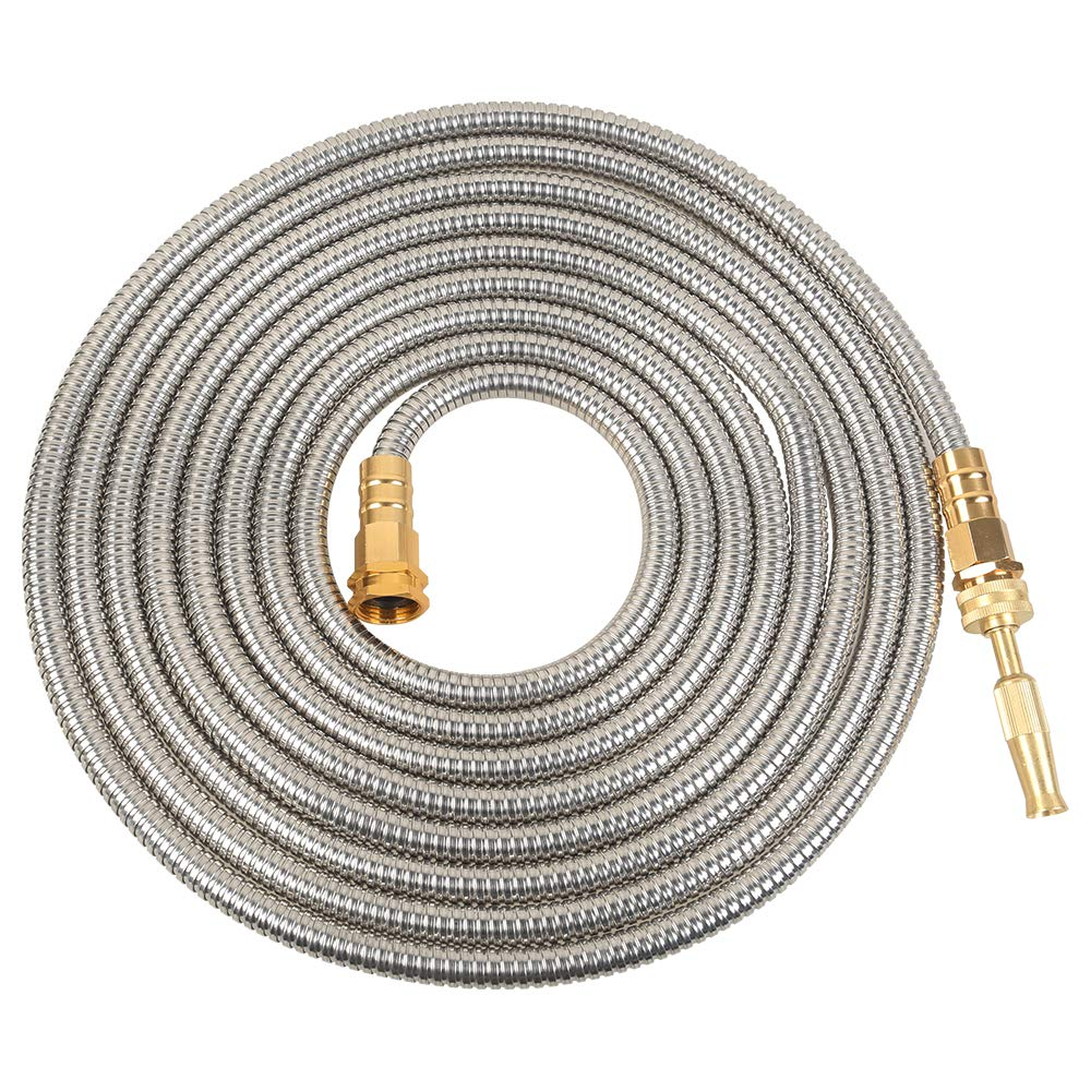 VERAGREEN Stainless Steel Metal Garden Hose 304 Stainless Steel Water Hose with Solid Metal Fittings and Newest Spray Nozzle, Lightweight, Kink Free, Durable and Easy to Store(100FT)