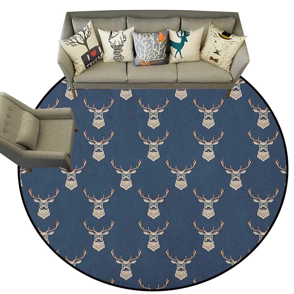 Style01 Diameter 72(inch& xFF09; Deer,Personalized Floor mats Illustration of Male Stag with Soft Pale colors Antlers Wildlife Nature Artful Print D54 Floor Mat Entrance Doormat