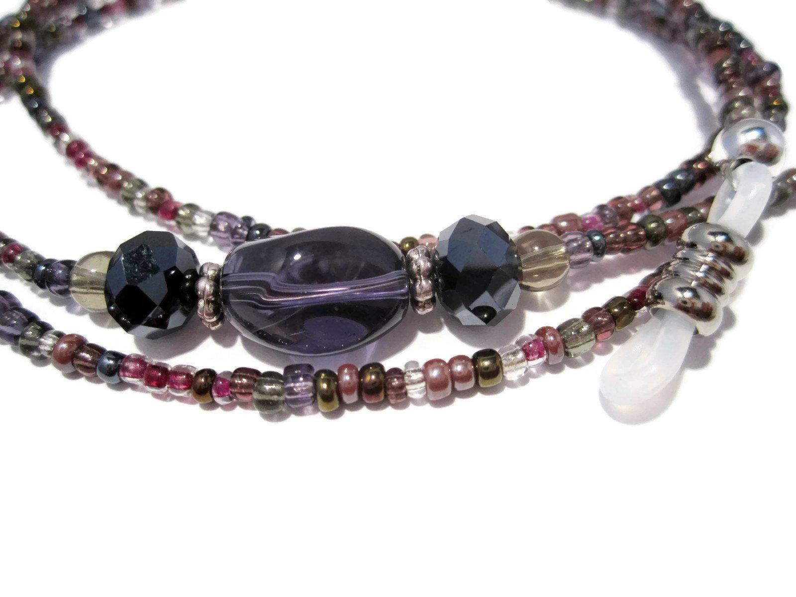 ATLanyards Purple Gray Mix Beaded Eyeglass Holder Chain Lanyard