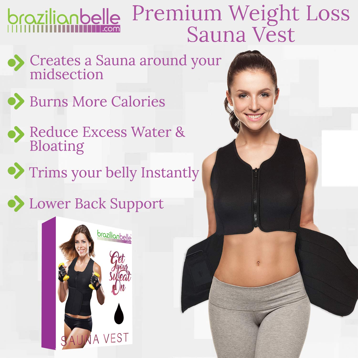 Best Weight Loss Neoprene Body Shaper for Women. Lose Belly Fat Faster with This All in One Workout Sweat Vest, Waist Trimmer Ab Belt, Trainer, Cincher and Corset. Shapewear that is 100 Flexible