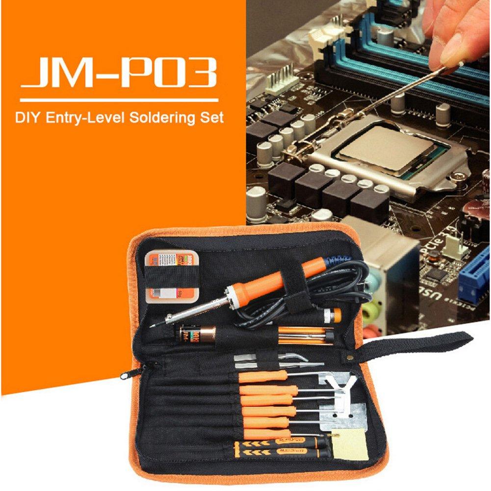 Kit de fer à souder 30W Electronics souder Fers Outil pour Jakemy Jm-p03DIY démonter outils avec tournevis de précision envoyer à fermeture Éclair Sac en tissu Total 17pièces kaersishop
