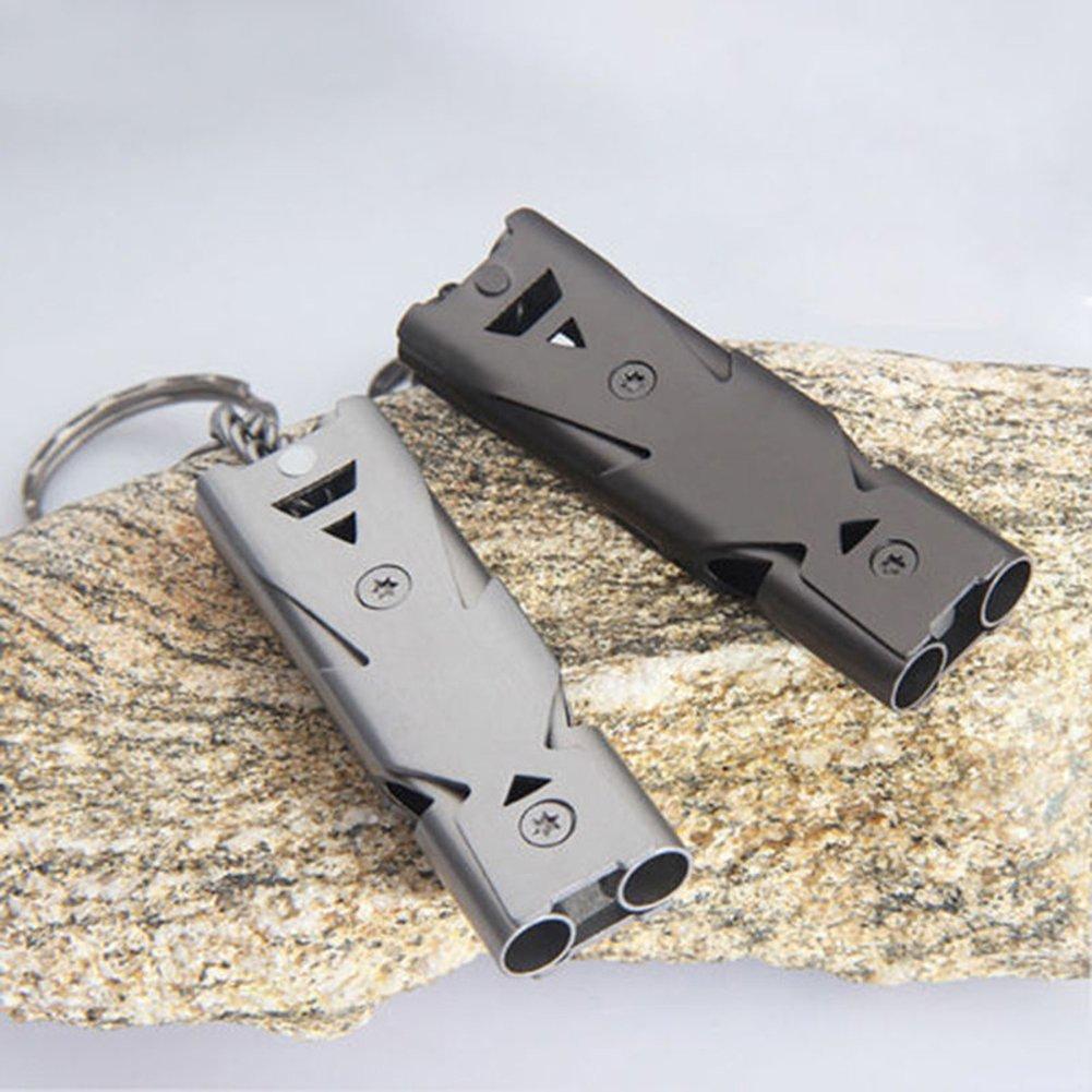 AchidistviQ Stainless Steel Emergency Lifesaving Whistle Double Tube SOS Survival Kit Tool Whistle Outdoor survival whistle high-frequency earthquake life-saving whistle hi-decibel Grey