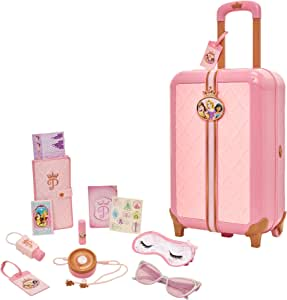 Disney Princess Travel Suitcase Play Set for Girls with Luggage Tag by Style Collection, 17 Pretend Play Accessoriespiece Including Travel Passport! for Ages 3+