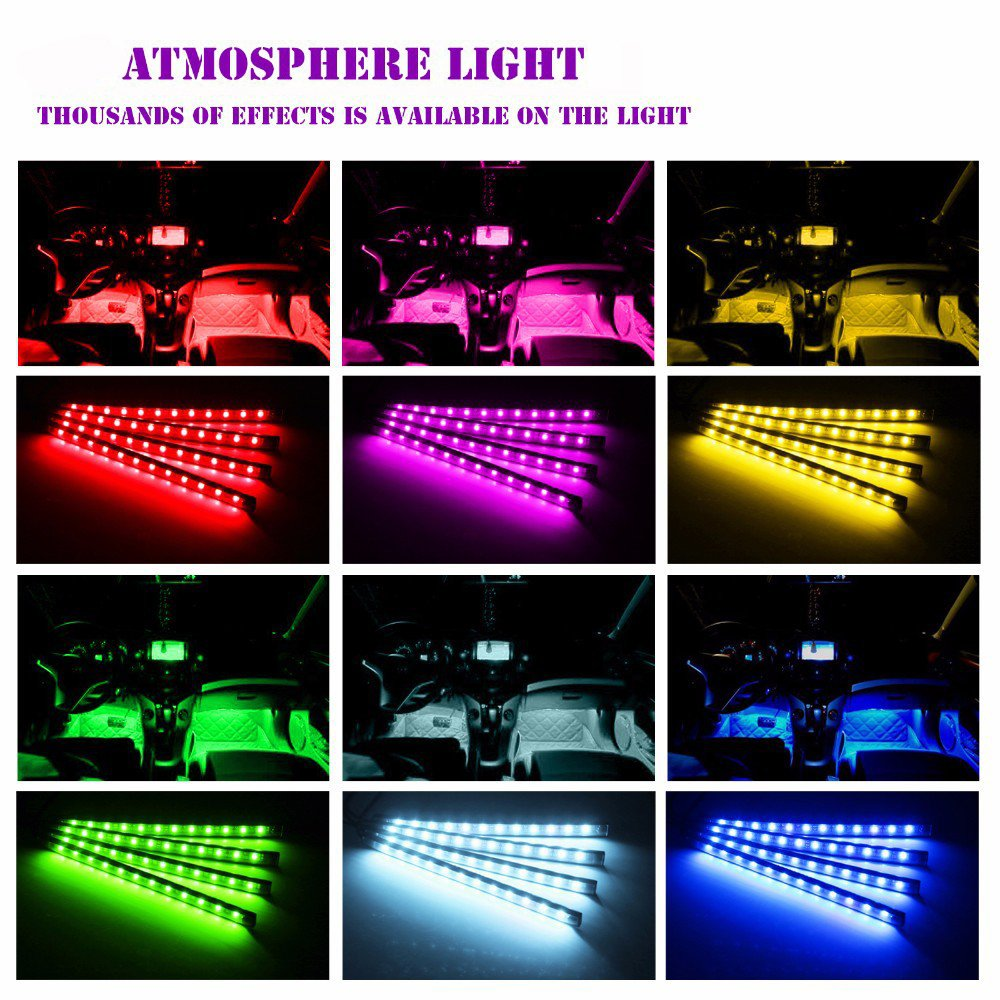 Car LED Strip Lights Vexverm 4pcs 48 LED Car Interior Multicolor Music Atmosphere Lights,USB Port LED Strip for Car with Sound Active Function,Wireless Remote Control with Dual USB Car Charger