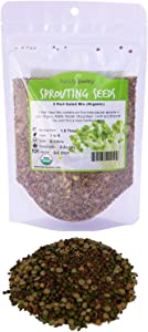 8 Oz - Handy Pantry 5 Part Salad Sprout Mix - Organic Non-GMO Mixed Seeds - Organic Broccoli Sprouting Seeds, Radish Sprout Seeds, Alfalfa Sprout Seeds, Lentil Seeds, and Mung Bean Seeds for Sprouting