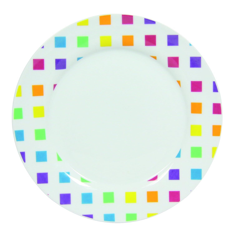 Novastyl 8010336 - Servizio Di 6 Piatti In Porcellana, 27 X 27 X 2 Cm, Motivo: Pixel, Colore: Bianco