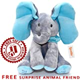 Lovellio Plush Interactive Peek-a-boo Elephant Baby Toy with Floppy Moving Ears – Sings, Hides, Plays Music – Huggable & Animated Musical Toddler Gift with Stuffed Animal Cuddle Pal, 2pc Set