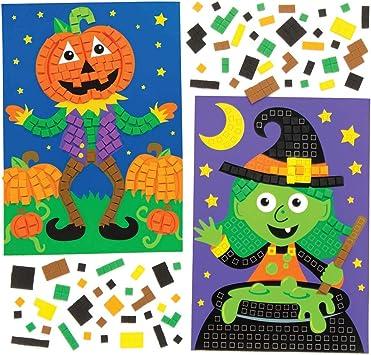 Baker Ross Kits de Dibujos de Halloween para Decorar con mosaicos (Pack de 4), Ideales para Manualidades Infantiles ...