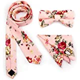 Stylefad Men's Floral Skinny Neck ties and Bowtie Pocket Square 3pcs Set for Gifts