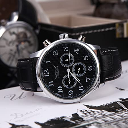 Amazon.com: Anself Jaragar Automatic Mechanical Men?s Analog Black Dial 6 Hands Sport Leather Wrist Watch 12/24 Hours Display Black: Kitchen & Dining