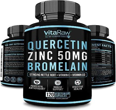 Quercetin 500mg Supplement, Zinc 50mg, Vitamin C, Vitamin D3 for Immune support, A Zinc Quercetin Supplement with Bromelain Immunity Booster, Antioxidants & Anti Inflammatory Quercetin supplements 500