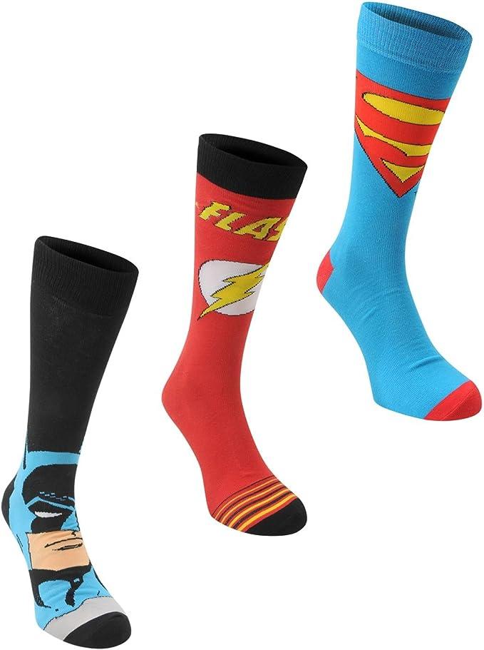 DC Comics Hombre Gents 3 Paquete Calcetines Acanalado Superhero Novedad Estampa Multicolor Mens