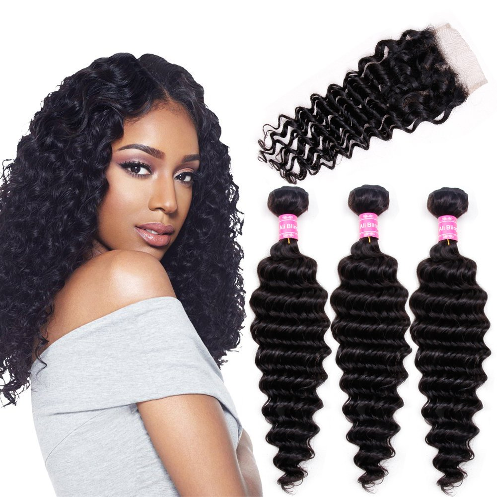 Amazon Brazilian Deep Curly Weave With Closure 3 Bundles With