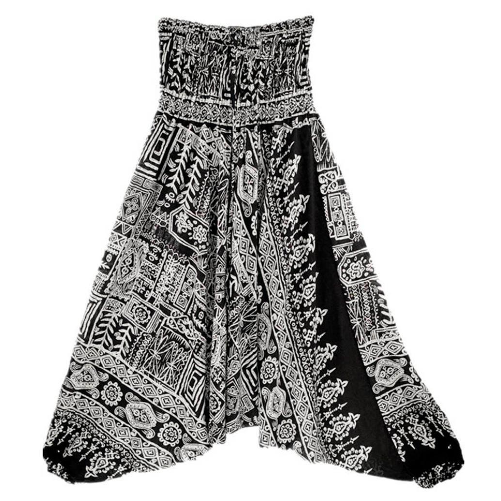Women Casual Summer Loose Baggy Boho Aladdin Jumpsuit Trousers OOEOO Yoga Harem Pants