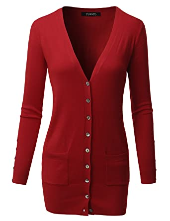 0dd8bfc23f Thanth Womens Long Length Long Sleeve Sweater Knit Button Cardigan RED XXXX- Large