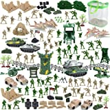 Nasidear 150 Piece Military Figures and Accessories - Toy Army Soldiers in 2 Colors, 14 Design Military Vehicle,War Soldiers
