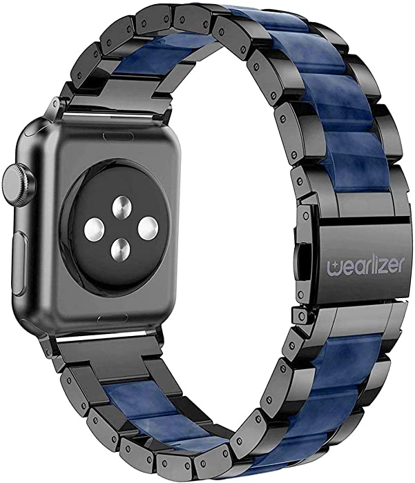 Wearlizer Black Blue Bands Compatible with Apple Watch Straps 42mm 44mm for iWatch Mens Womens Wristband Lightweight Stainless Steel Edge with Central Resin Replacement Strap Bracelet Series 5 4 3 2 1