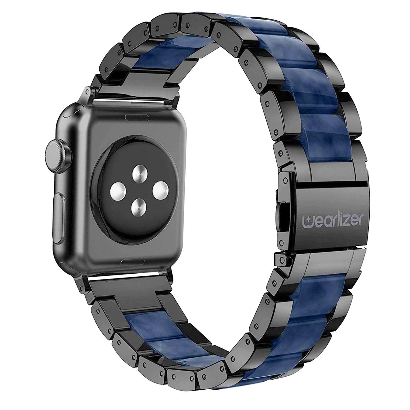 Wearlizer Black Blue Bands Compatible with Apple Watch Straps 42mm 44mm iWatch Mens Womens Replacement Lightweight Central Resin with Stainless Steel Edge Wristbands Strap Bracelet Series 4 3 2 1 by Wearlizer