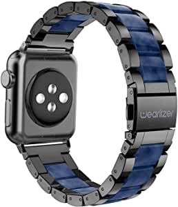 Wearlizer Black Blue Bands Compatible with Apple Watch Straps 42mm 44mm for iWatch SE Mens Womens Wristband Lightweight Stainless Steel Edge with Central Resin Replacement Bracelet Series 6 5 4 3 2 1