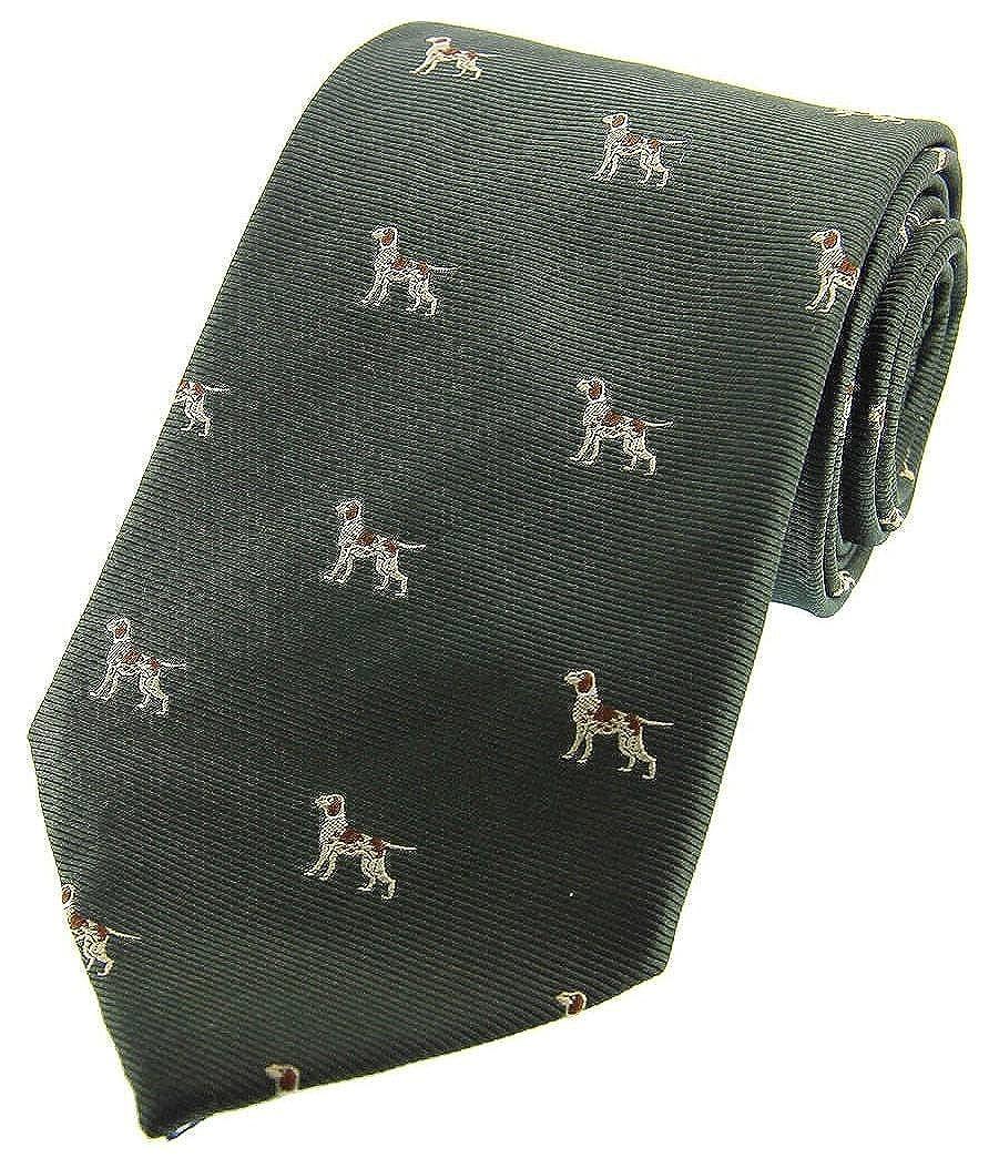 David Van Hagen Mens Pointer Dogs Woven Country Silk Tie Country Green