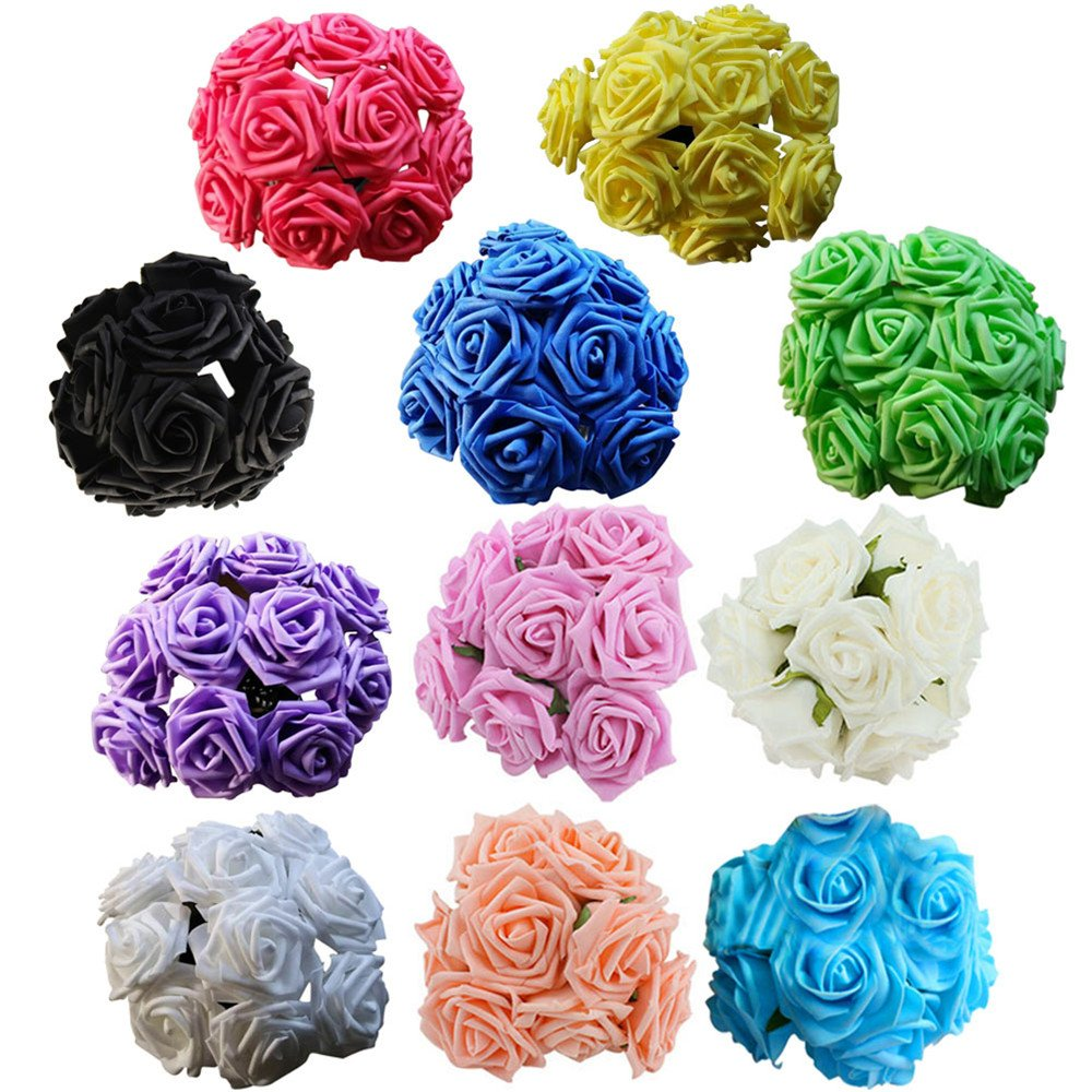 Artificial Roses,ASDOMO Artificial Foam Roses Decoration DIY for Wedding Bridesmaid Bridal Bouquets Centerpieces, Party Decoration, Home Display, Office Decor Purple 10 Head 8CM