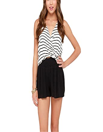 18881cb5672 B Dressy Navy Style Striped Halter Top Back Cropped Cross Sexy Tank  Top,White,