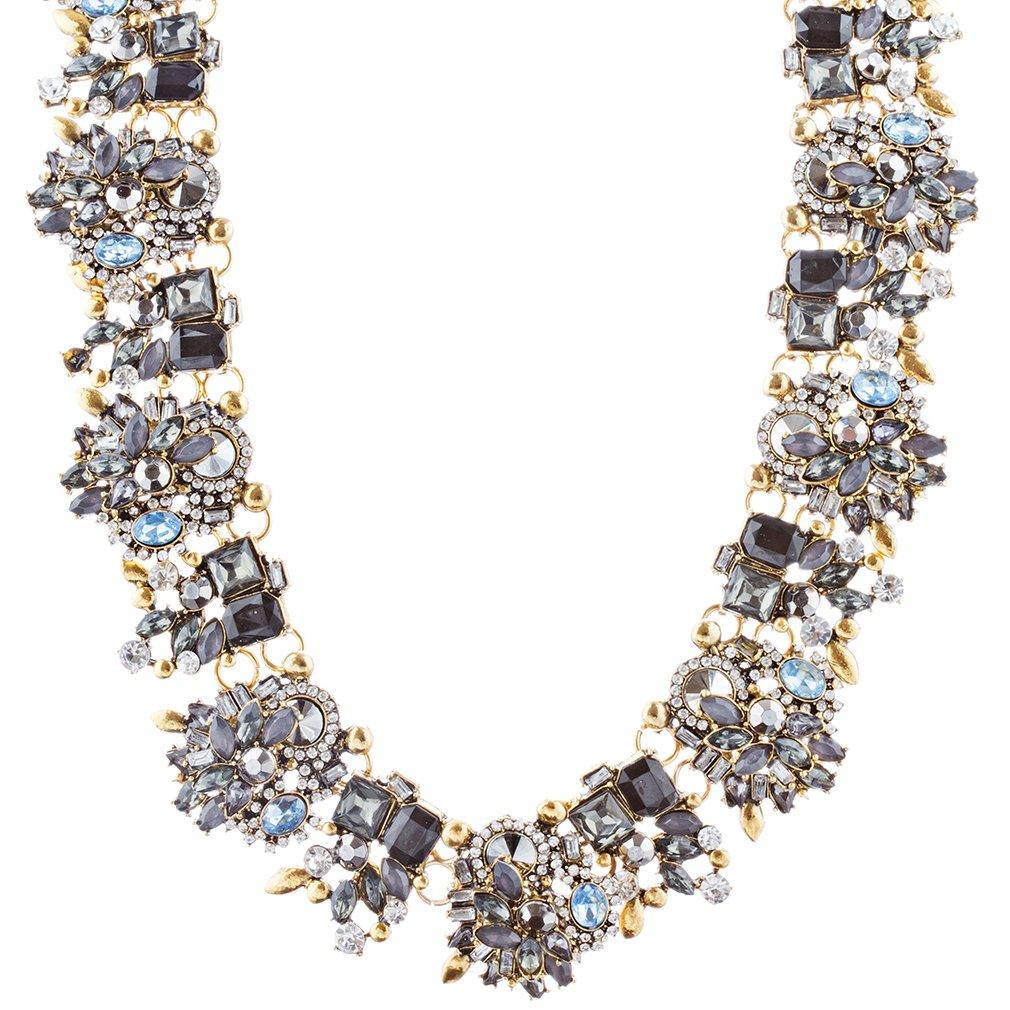 ACCESSORIESFOREVER Women Stunning Sparkle Crystal Rhinestone Fashion Statement Necklace N100 Black