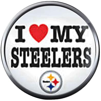 b39ce4e3 Image Unavailable. Image not available for. Color: NFL I Love My Pittsburgh  Steelers Football Fan Team Spirit 18MM - 20MM Fashion Jewelry Snap