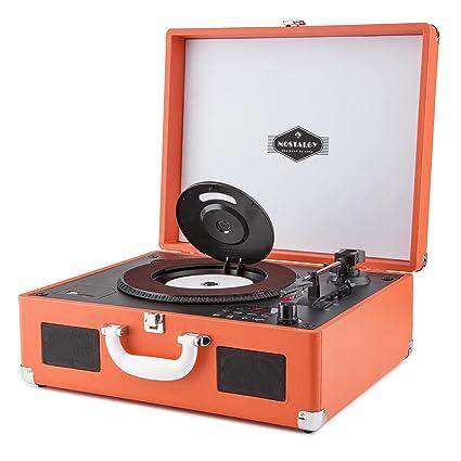 auna Peggy Sue CD Premium Black Edition - Tocadiscos Estilo Vintage, Reproductor CD y MP3, Diseño Maleta de Cuero sintético, Altavoces estéreo ...