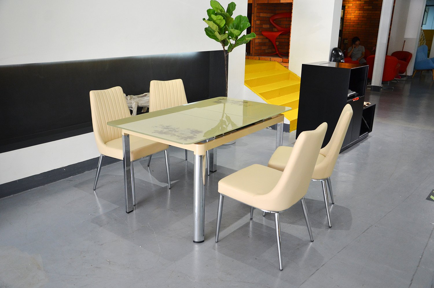 Bellona 5 Piece Extendable Dining Set Table WF330 (CAPPUCCINO)