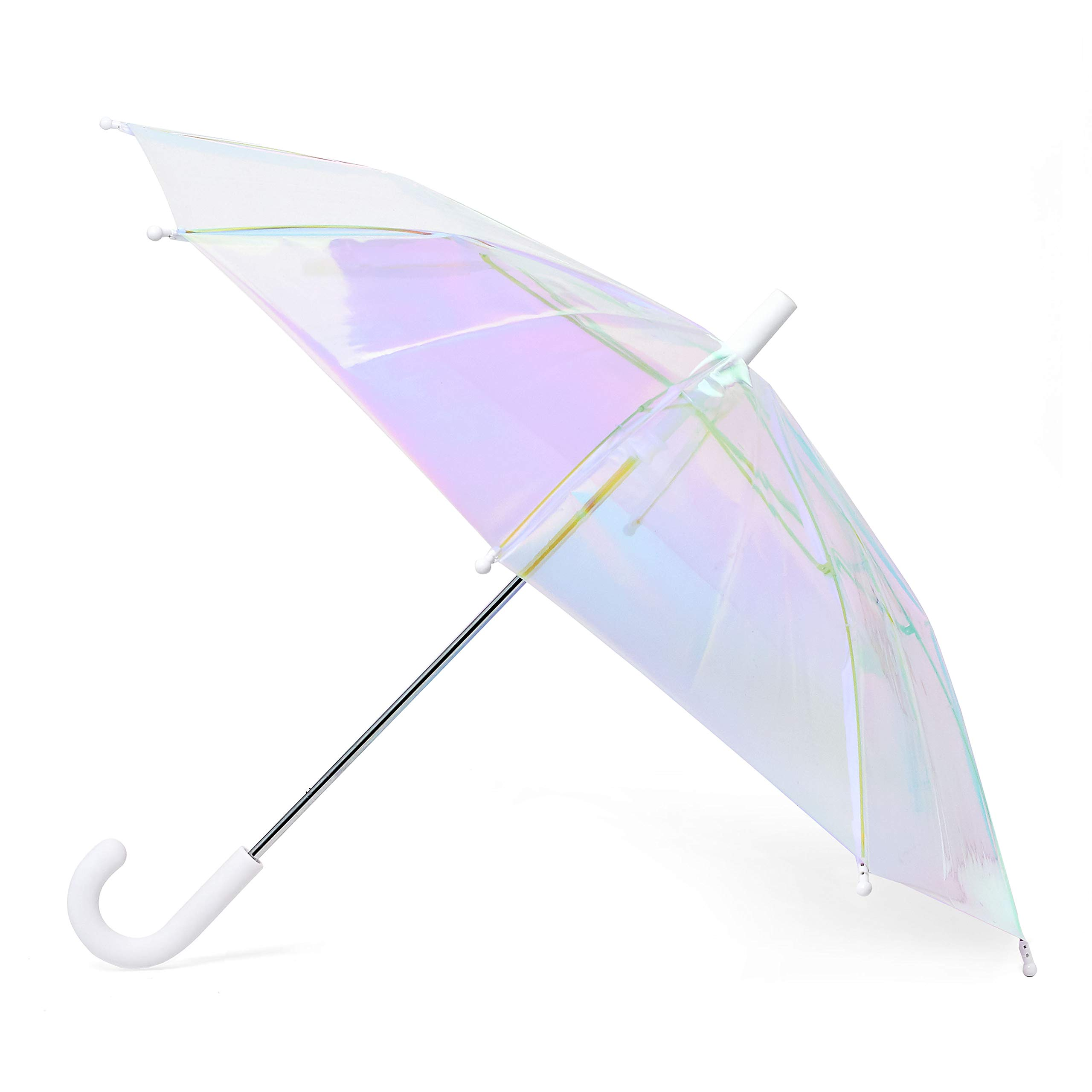 FCTRY Holo Umbrella, Iridescent Holographic Clear, 46 Inch Wide, White by FCTRY