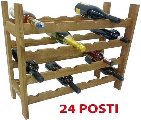 Mobile porta bottiglie cantinetta vino in legno Noce marrone 24 ...