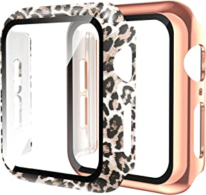 Wearlizer 2 Packs Cases Compatible with Apple Watch Case 38mm Series 3 2 1 with Screen Protector, Ultra-Thin Full Cover Leopard Protective Bumper Case for iWatch Women Girls (Leopard+Gold, 38mm)