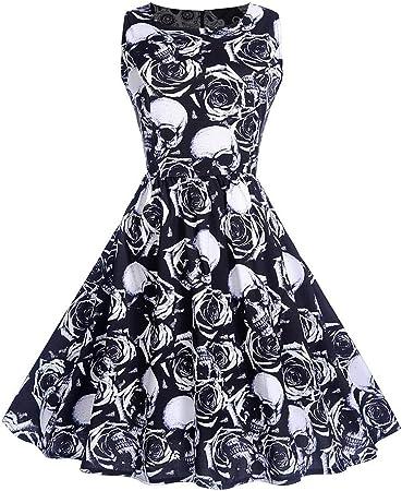 OTEN pour Femme Imprim/é Floral Sugar T/ête de Mort Vintage Rockabilly Robe de f/ête
