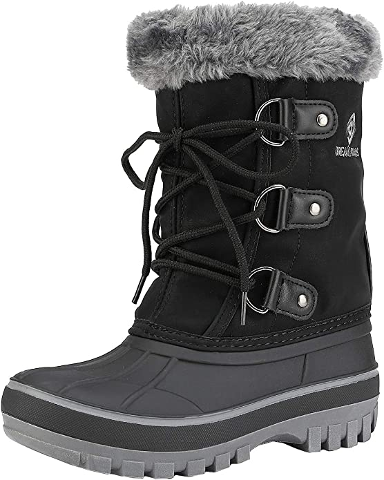 Hoylson Toddler Girls Winter Snow Boots Fur Lined Warm Ankle Boots Waterproof Outdoor Sneakers for Baby