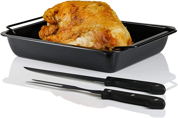 CWR20092B 12 x 9 inches Carbon Steel Ovente Non-Stick Roasting Pan with Carving Set Black Contemporary