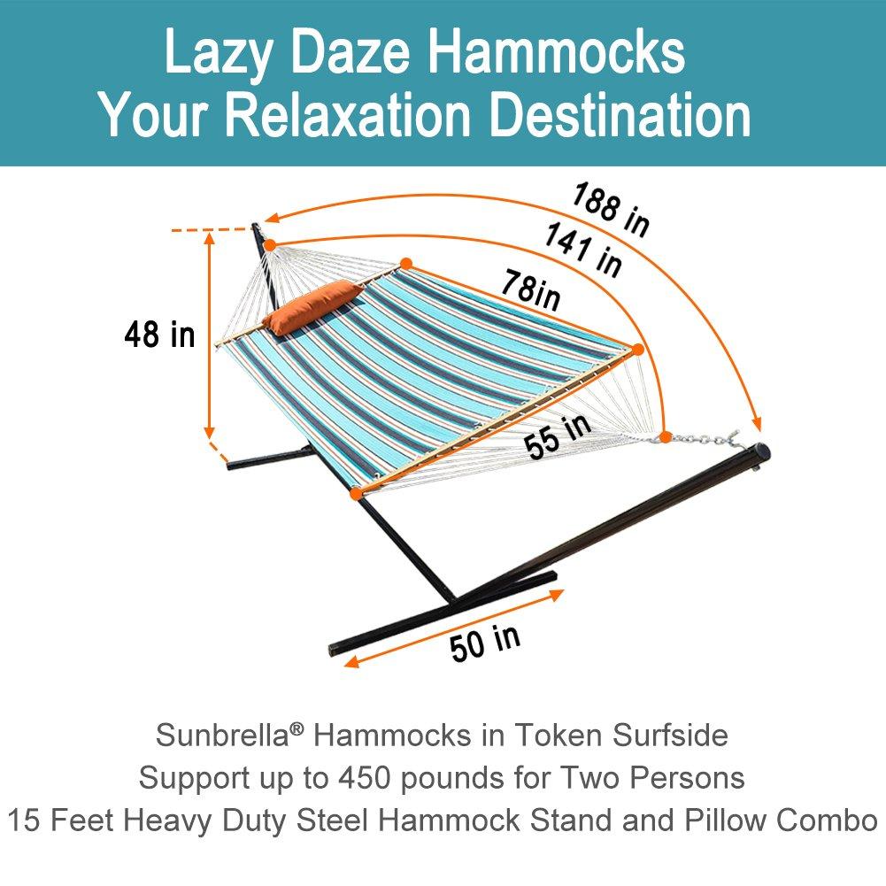 Lazy Daze Hammocks 15 Feet Heavy Duty Steel Hammock Stand, Two Person Sunbrella Fabric Hammock Combo,Token Surfside by Lazy Daze Hammocks (Image #5)