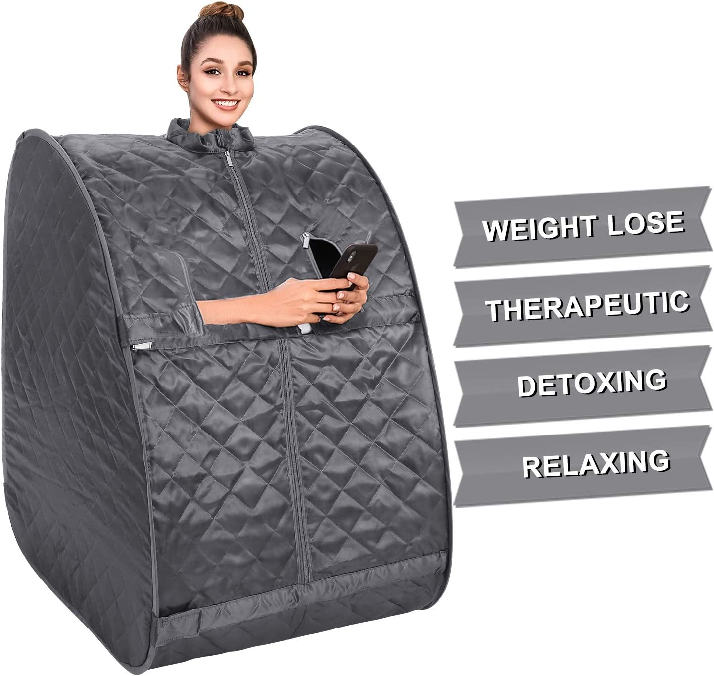 OppsDecor Portable Steam Sauna, 2L Personal Therapeutic Sauna Home Spa for Weight Loss Detox Relaxation Slimming,One Person Sauna with Remote Control,Foldable Chair,Timer US Plug Grey