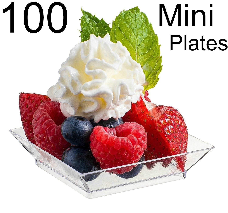 Disposable Hard Plastic Petite Tasting Sample Plastic Mini Dessert Plates Mini Square Appetizer Plates Clear Zappy 100 Mini Dessert Plates 2.5 x 2.5 100 Square Mini Plates